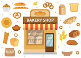 Bakery set icons with bread shop building, roll, loaf, cakes, bagels, . Isolated on white background. Vector illustration
