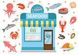 Seafood icons set with  shop building, fish, octopus, squid, shrimp, crab. Isolated on white background. Vector illustration