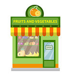 Store fruits and vegetables. shop building isolated on white background. Vector illustration.