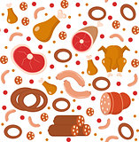 Meat products seamless pattern, flat style. Meats and sausage endless background, texture. Vector illustration