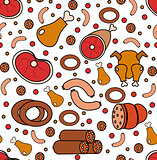 Meat products seamless pattern, modern line, doodle, sketch style. Meats and sausage endless background, texture. Vector illustration
