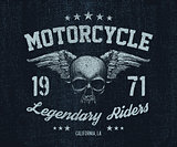 vector emblem retro motorcyclist old skull