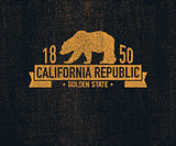 California t-shirt with grizzly bear. T-shirt graphics, design, print.