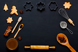 Baking background with cookies, honey and kitchen tools.
