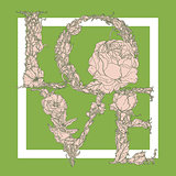 Love by as pattern of the branches and leaves on Greenery