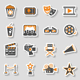 Cinema and Movie sticker Icons Set