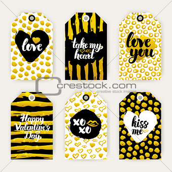 Valentine Day Gold Gift Labels