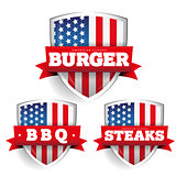 Burger, Steaks, Bbq vintage shield with USA flag