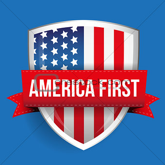America First shield with USA flag