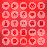Solid Circle Love Heart Icons