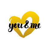 You and Me Handwritten Lettering