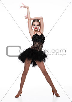 Beautiful ballroom dancer girl in elegant pose