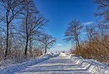 Empty snow covered road in winter landscape