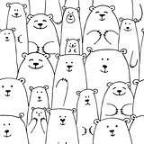 White bears family, seamless pattern for your design