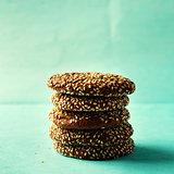 Stack of chocolate cookies with sesame