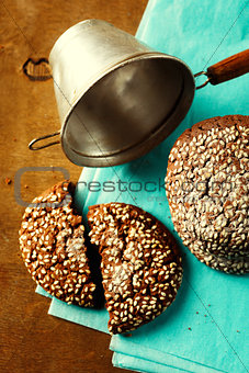 Fresh baked chocolate cookies on wooden table
