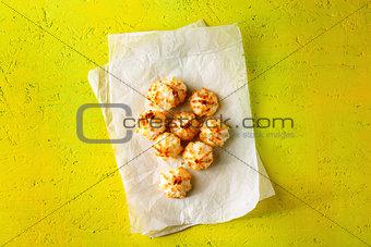 Fresh baked little coconut cookies
