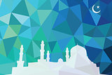 Colorful mosaic design - mosque white silhouette, blue color