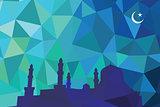Colorful mosaic design - mosque black silhouette, blue color