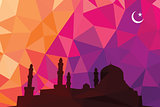 Colorful mosaic design - mosque black silhouette, red color