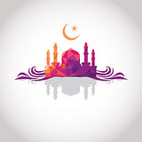 Colorful mosaic design - Mosque and Crescent moon, wave, shadow, red color