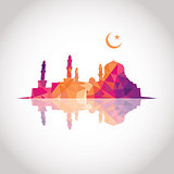 Colorful mosaic design - Mosque and Crescent moon, mirror effect, red color