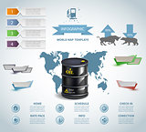 Infographic oil barrel Business template design . concept vector