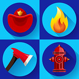 Firefighter icons elements set
