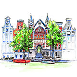 City view of Amsterdam canal, houses and church