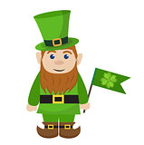 Leprechaun, icon flat style. St. Patricks Day symbol. Isolated on white background. Vector illustration.