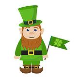 Leprechaun, icon flat style. St. Patricks Day symbol. Isolated on white background. Vector illustration.
