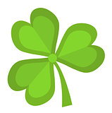 Clover, icon flat style. St. Patrick's Day symbol. Isolated on white background. Vector illustration.