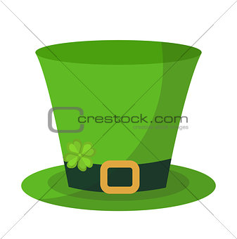 Green hat cylinder, flat style icon. St. Patrick's Day symbol. Isolated on white background. Vector illustration.