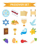 Passover icons set. flat, cartoon style. Jewish holiday of exodus Egypt. Collection with Seder plate, meal, matzah, wine, torus, pyramid. Isolated on white background. Vector illustration.