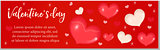 Valentines Day banner with realistic 3D heart. Template for your design with space for text. Vector illustration.