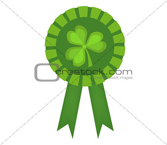 Green medal with clover, icon flat style. St. Patrick's Day symbol. Isolated on white background. Vector illustration