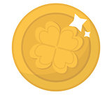 Gold coin with clover, icon flat style. St. Patrick's Day symbol. Isolated on white background. Vector illustration.