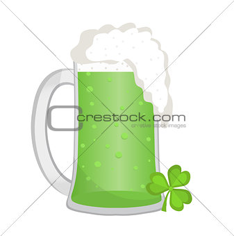 Green beer, icon flat style. St. Patrick's Day symbol. Isolated on white background. Vector illustration.