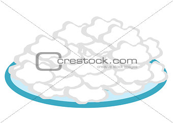Cottage cheese in a plate flat style icon. Isolated on white background. Vector illustration.