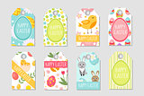 Cute Easter tags set. Labels collection with  rabbit, eggs and flowers. Spring templates for your design. Vector illustration