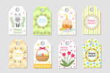 Cute Easter tags set. Labels collection with  rabbit, eggs and flowers. Spring templates for your design. Vector illustration.
