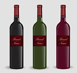 Realistic wine bottle set. Isolated on white background. 3d glass bottles mock-up. Vector illustration.