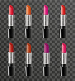 Realistic lipstick package template for your design. Rouge tube mock-up product on a transparent background. Cosmetics 3d flacon. Vector.