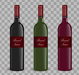 Realistic wine bottle set. Isolated on white background. 3d glass bottles mock-up. Vector illustration