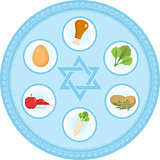 Seder plate of food, flat style. Jewish holiday  Passover. Isolated on white background. Vector illustration