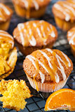 Carrot tangerine cupcakes with glaze and caramel topping