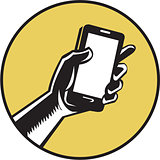 Hand Holding Smartphone Circle Woodcut