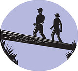Hikers Crossing Single Log Bridge Oval Woodcut