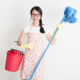 Woman Cleaning with mop and bucket