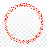 Valentines hearts wreath on transparent background with copy spa